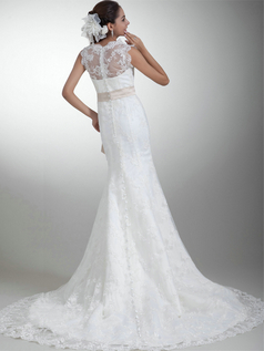 Mermaid Scalloped-edge Brush Train Sashes Lace Wedding Dresses