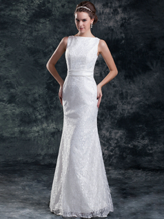 Mermaid Bateau Floor-length Lace Wedding Dresses