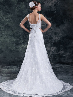 A-line V-neck Brush Train Beading Sequin Lace Wedding Dresses