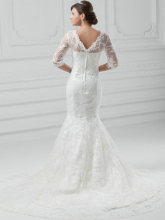 Mermaid Scalloped-edge Court Train Half Sleeve Lace Wedding Dresses With Beading
