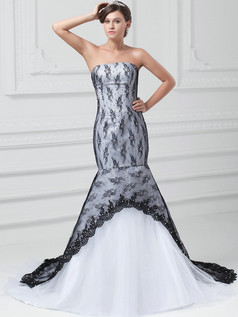 Mermaid Tube Top Strapless Court Train Crystal Lace Wedding Dresses