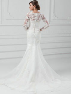 Mermaid Scalloped-edge Sweep Long Sleeve Beading Lace Wedding Dresses