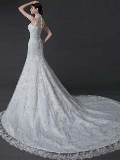 Over Hip High Neck Court Train Beading Sequin Lace Wedding Dresses