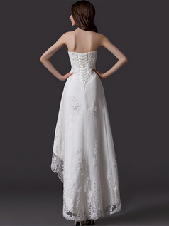 A-line Strapless Ankle-length High Low Beading Lace Wedding Dresses