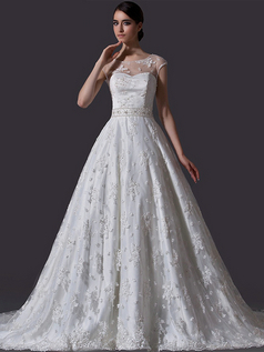 Ball Gown Bateau Court Train Cap Sleeves Beading Lace Wedding Dresses