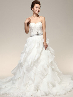 Pure Color Classic Princess Organza Sweep Embroidery Wedding Dresses