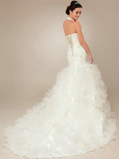 Gorgeous Mermaid Organza Halter Cascading Ruffle Wedding Dresses