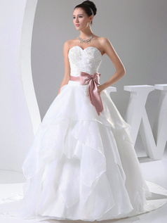 Graceful Ball Gown Organza Sweetheart Sweep Train Wedding Dresses