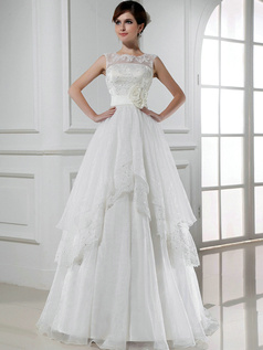 Luxurious Princess Organza Round Brought Flower Wedding Dresses