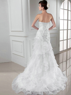 Brilliant Over Hip Organza Sweetheart Appliques Wedding Dresses