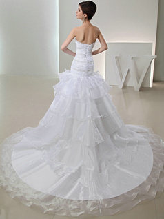 Intelligent Over Hip Organza Sweetheart Tiered Wedding Dresses