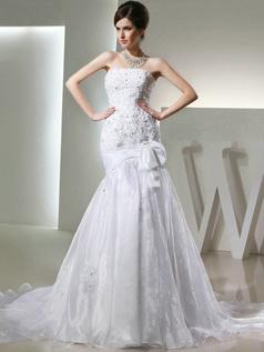 Brilliant Over Hip Organza Tube Top Bowknot Wedding Dresses