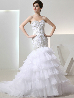 Great Mermaid Organza Sweetheart Rhinestone Wedding Dresses