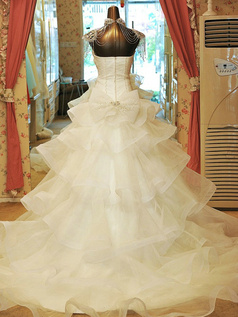 Over Hip Strapless Tiered Court Train Organza Crystal Wedding Dresses With Jewelry Jacket