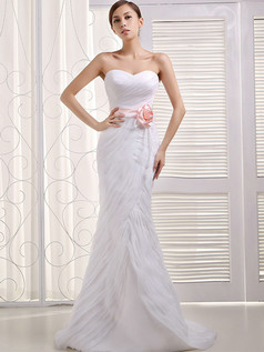 Mermaid Sweetheart Brush Train Organza Flower Sashes Wedding Dresses