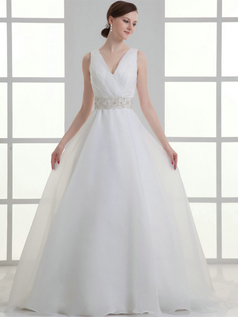 A-line V-neck Straps Sweep Organza Crystal Beading Wedding Dresses