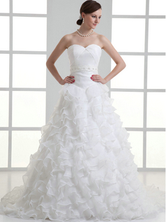 Princess Sweetheart Sweep Organza Crystal Beading Wedding Dresses