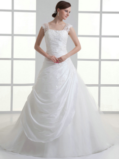 A-line Straps Brush Train Organza Beading Side-draped Wedding Dresses