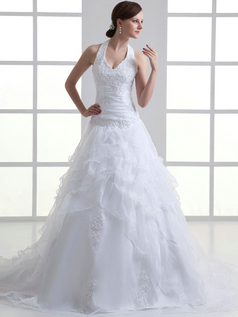 A-line V-neck Halter Sweep Organza Beading Sequin Wedding Dresses