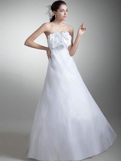 A-line Strapless Floor-length Organza Flower Wedding Dresses