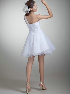 A-line One Shoulder Short Organza Beading Sequin Wedding Dresses