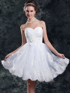A-line Strapless Knee-length Organza Flower Sequin Wedding Dresses
