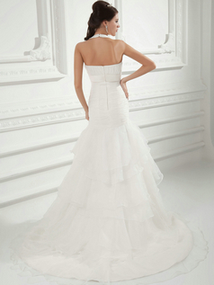 Mermaid Halter V-neck Sweep Organza Crystal Tiered Wedding Dresses