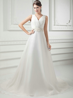 A-line V-neck Brush Train Organza Crystal Sequin Wedding Dresses