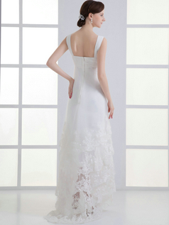 Column Straps Brush Train Organza Beading Lace Wedding Dresses