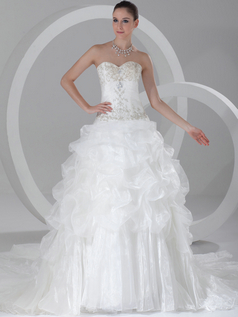Princess Strapless Court Train Organza Pick-Ups Wedding Dresses With Beading