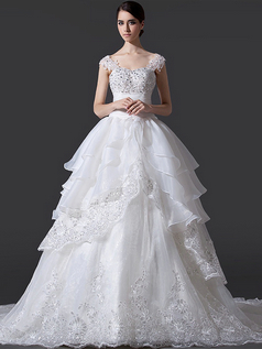 Ball Gown Sweetheart Chapel Train Cap Sleeves Organza Wedding Dresses With Beading
