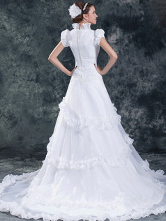 A-line Stand Collar Sweep Organza Bubble Sleeve Sequin Wedding Dresses