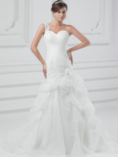 Mermaid One Shoulder Court Train Organza Flower Wedding Dresses With Pick-Ups