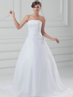 Ball Gown Tube Top Strapless Brush Train Organza Wedding Dresses