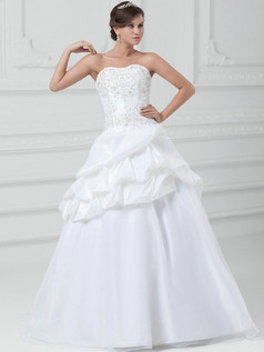 A-line Sweetheart Floor-length Organza Embroidery Wedding Dresses With Pick-Ups