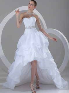 Princess Sweetheart Court Train Organza High Low Pick-Ups Wedding Dresses With Sashes