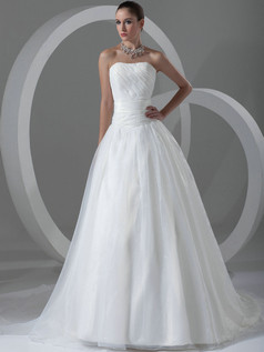 Ball Gown Sweetheart Strapless Sweep Organza Draped Wedding Dresses