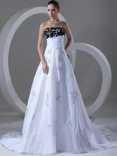 A-line Tube Top Sweep Organza Flower Crystal Wedding Dresses