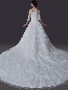 Ball Gown Scalloped-edge Chapel Train 3/4 Length Sleeve Organza Wedding Dresses With Beading