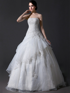 Ball Gown Strapless Floor-length Organza Beading Wedding Dresses