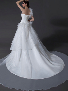 Ball Gown One Shoulder Court Train Organza Wedding Dresses