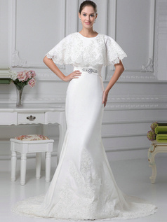 Wonderful Mermaid Satin Round Brought Court Train Wedding Dresses