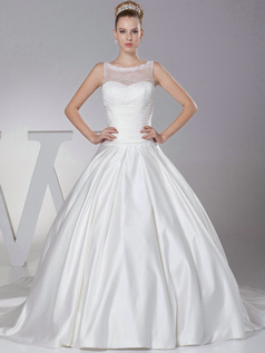 Fantasy Ball Gown Satin Bateau Court Train Wedding Dresses
