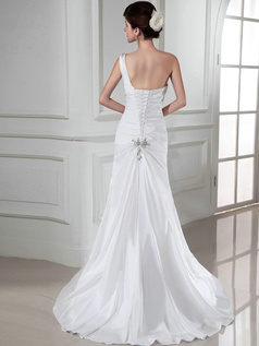 Excellent Over Hip Satin One shoulder Rhinestone Wedding Dresses