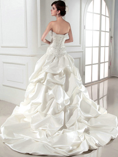 Glorious Ball Gown Satin Tube Top Beading Wedding Dresses