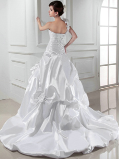 Impressive Princess Satin One shoulder Pick-Ups Wedding Dresses