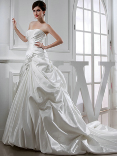 Stunning Over Hip Satin Tube Top Pick-Ups Wedding Dresses