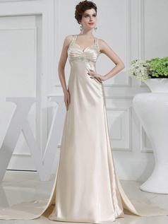 Magnificent Column Satin Straps Beading Wedding Dresses