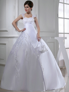 Impressive Ball Gown Satin Straps Beading Wedding Dresses