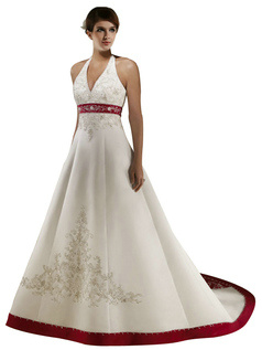 Astonishing A-line Satin Halter Beading White And Red Colored Wedding Dresses